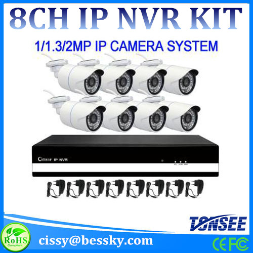 8channle Ip Nvr Kit 720p 1 0mp Bullet Cameras 30m Ir Range 36pcs Led Camera