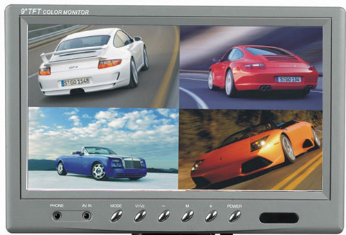 9inch Tft Lcd Quad Car Monitor With 4 Cameras