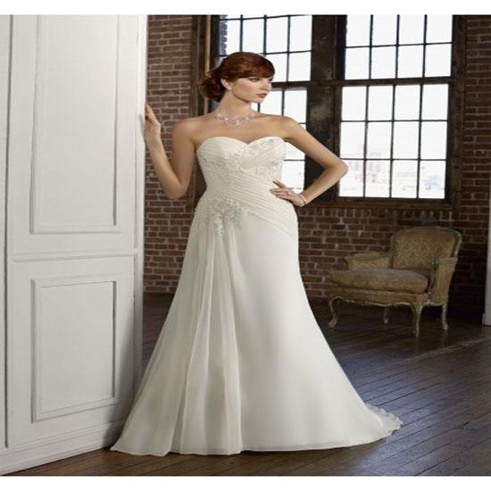 A Line Chiffon Bridal Dress With Lace Appliques A01