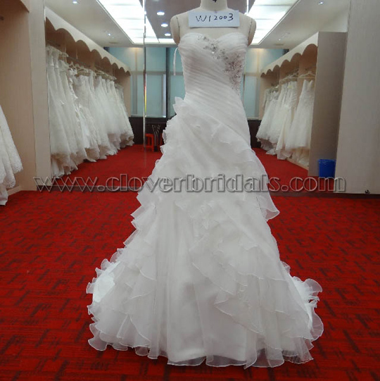 A Line Princess Sweetheart Cathedral Train Organza Bridal Gowns