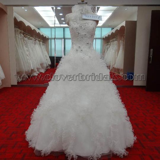 A Line Strapless Chapel Train Tulle Satin Wedding Dress Georgette Flower Taffeta