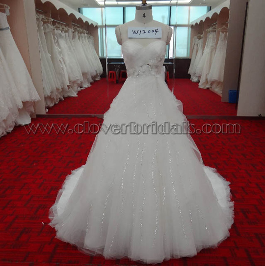 A Line Sweetheart Chapel Train Tulle Satin Bridal Dress