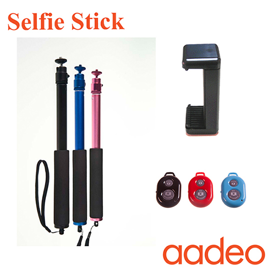 Aadeo 2015 Colorful Wireless Monopod Selfie Stick With Bluetooth Shutter Button For Iphone And Samsu