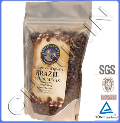 Aluminum Foil Stand Up Food Bag With Zipper For Coffee Packaging