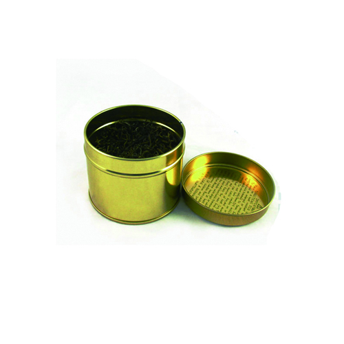 Anti Rust Small Round Golden Tea Packaging Canister