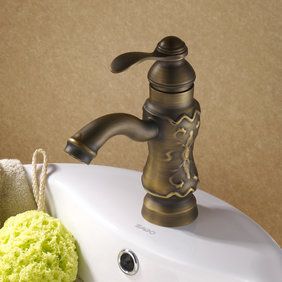 Antique Solid Brass Centerset Bathroom Sink Tap Copper Finish T0425a