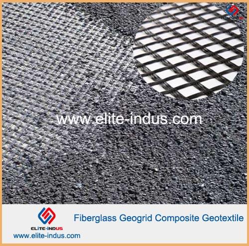 Asphalt Coated Reinforcement Fiberglass Geogrid Composite Geotextile