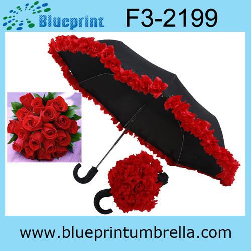 Automatic 3folding Rose Wedding Umbrella Favors