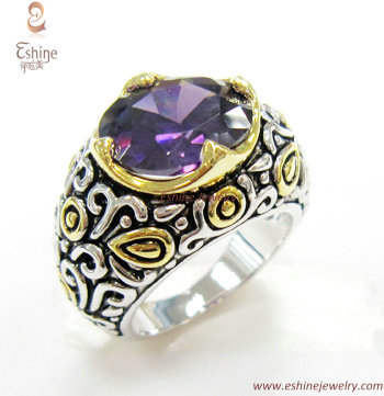 Bali Style Brass Jewelry Designer Inspired Ring With Oval Amethyst Cz Stones