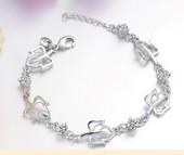 Bangles Heart Bracelet Cz Bracelets Silver