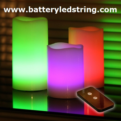 Battery Operated Colour Changing Led Wax Candles With Remote Controller