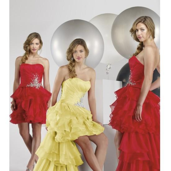 Beautiful Cheap Organza Strapless A Line Evening Dresses With Shirring Along Appliqued Waist E09