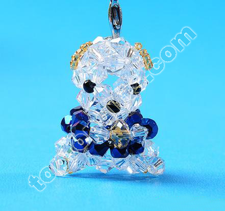 Bicone Crystal Beaded Lucky Bear Phone Decoration