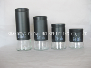 Black Glass Jars With Stainless Steel Coating