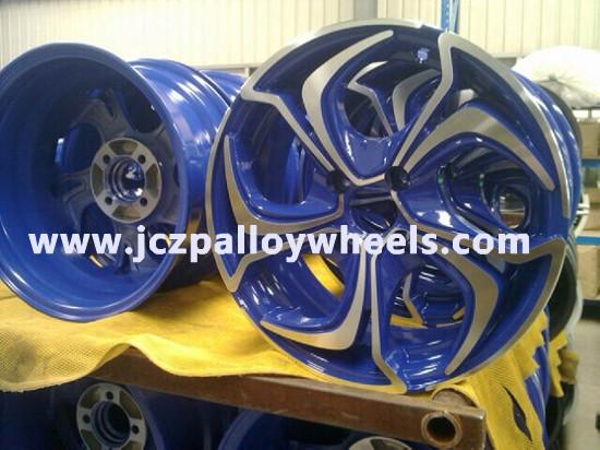 Blue Machined Face Car Wheels 16x7 0