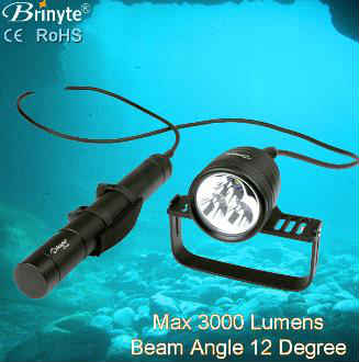 Brinyte Cree Led Underwater 200m Canister Diving Flashlight