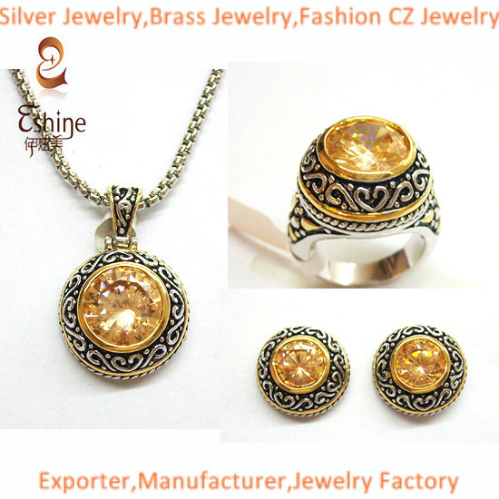 Cable And Flora Designs Sterling Silver Jewelry Designer Inspired Set With Round Champagne Cz Stones