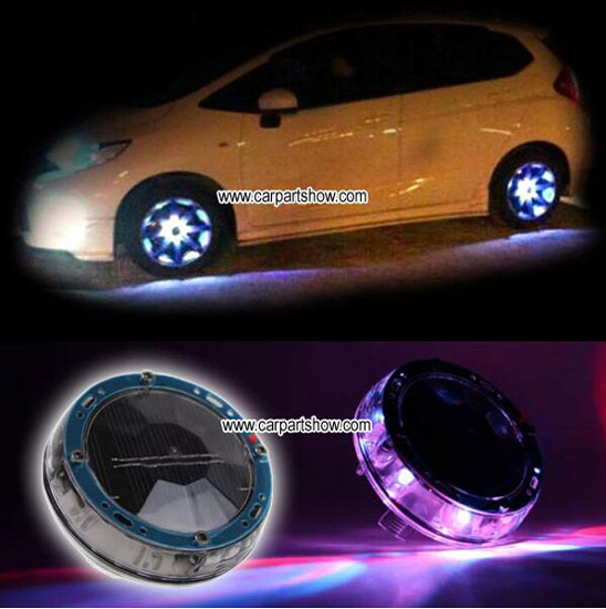 Car Solar Charging Colorful Wheel Lights Aftermarket Led Light Seven Color