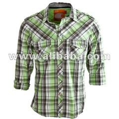 Casual Shirt For Men In Green Checks