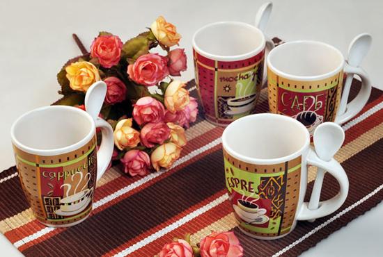 Ceramic Coffee Mug With Spoon Custom Imprint