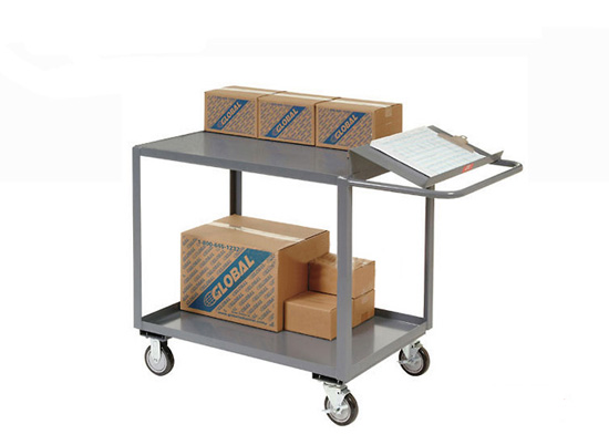 Cheap Order Picking Trolley Mobile Office Utility Hand Cart With Double  Shelves Rca 25