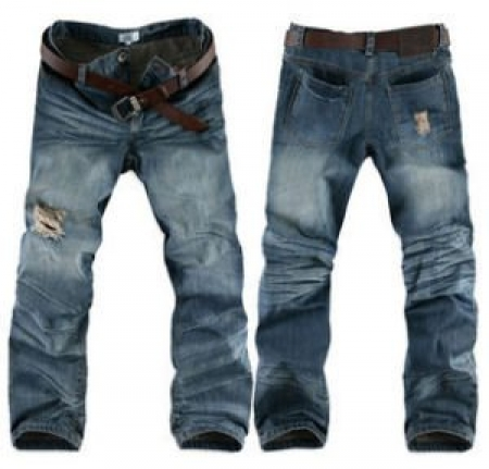 Chic Mens Stone Heavy Wash Broken Hole Denim Jeans Pant