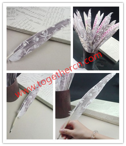 China Manufacture Hot Sell Party Wedding Feather Pen Logo Business