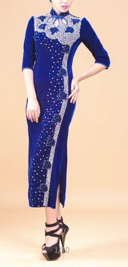 Chinese Vintage Long Plus Size Velvet Cheongsam Qipao Evening Dress