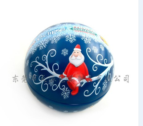 Christmas Ball Shaped Tin Can For Holiday Gifts