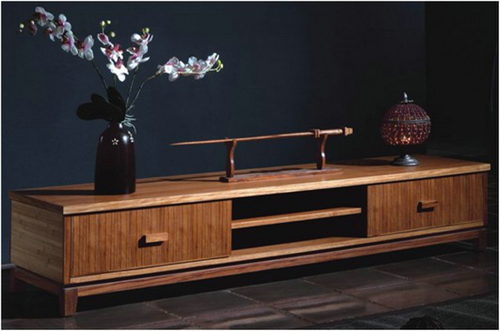 Classical Bamboo Tv Stand In Home