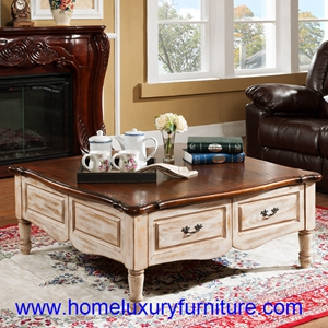 Coffee Table Solid Wood Marble Fy 2006