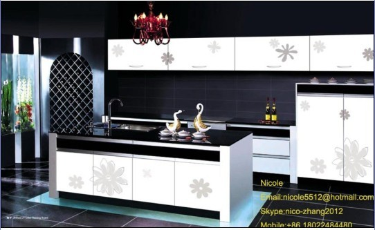 Color Painting Kitchen Furniture Water Proof High Glossy Cabinet