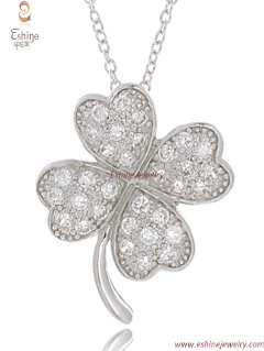 Competitive Price Four Leaf Clover Designs Sterling Silver Cz Pendant