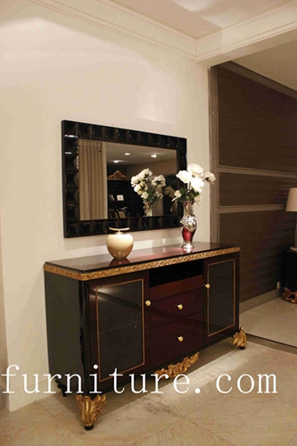 Console Table Furniture Wood With Mirror Antique Wall