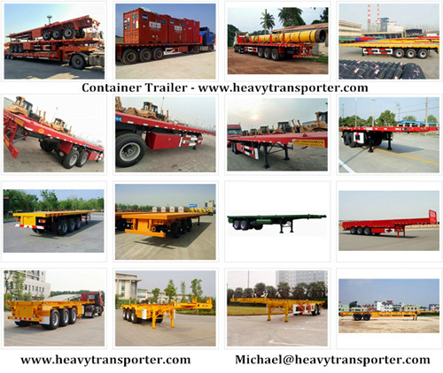 Container Trailer 40 Fr Flatbed Semi Lowbed