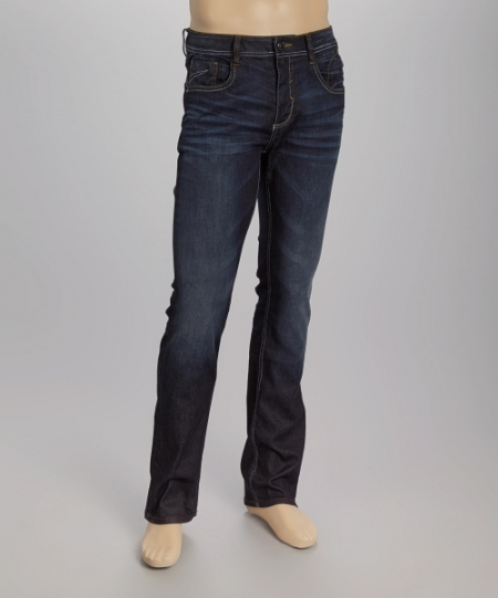Creativeindiaexports Dark Indigo Whiskered Straight Leg Jeans