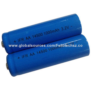 Cylinder Lifepo4 Lithium Iron Rechargeable Battery Ifr14500 Aa 1 000mah For Medical Devices