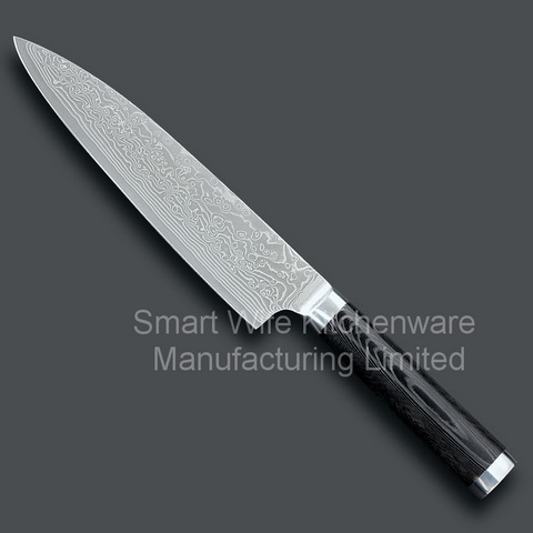 Damscus Kitchen Chef Knife Cook With Fashion Wave Pattern