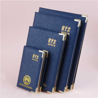 Dark Blue Pu Cover Diary Notebook With Metal Corner