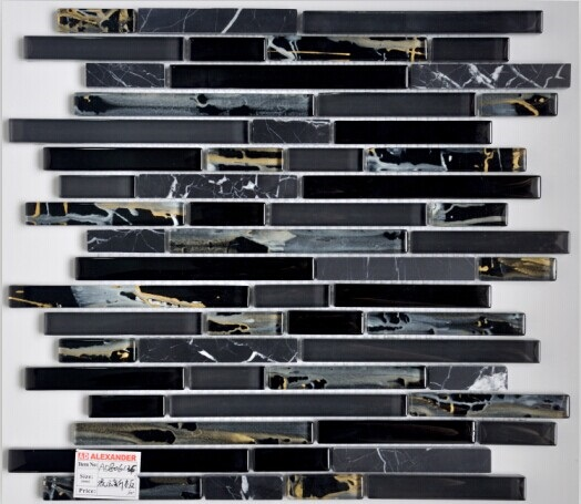 Decorative Strip Marble Glass Mosaic Tile Pattern