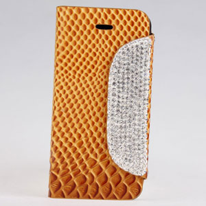 Diamond Button Snake Texture Wallet Style Golden Electroplate Flip Leather Case For Iphone5 5s