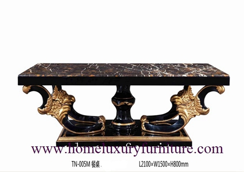 Dining Table Black Square Modern Solid Wood Tn 005m