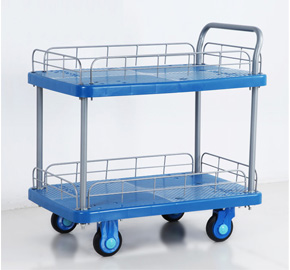 Double Layer Plastic Platform Hand Trolley Cheap Mute Flatbed Handcart Ls150 T2 Hl2