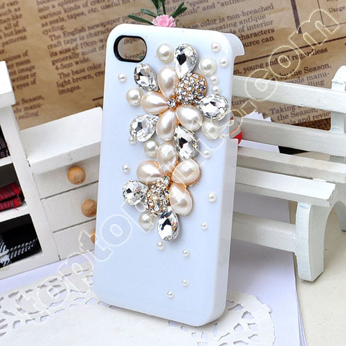 Double Pearl Flower Iphone4 Hard Case Cover With Rhienstons