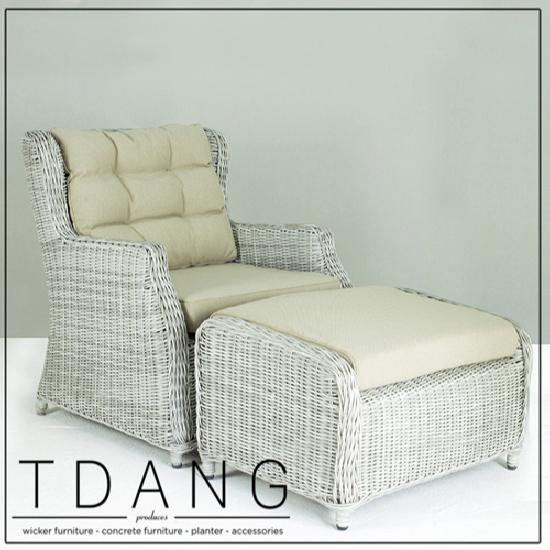 Driago Wicker Sofa 1 Seat With Ottoman Code 2002