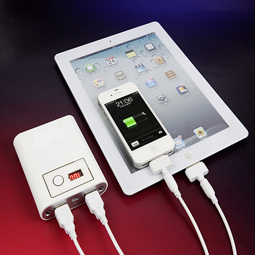 Dual Usb Universal Li Ion Power Bank For Iphone Mobile Ipad Ipod With Led Light High Capacity