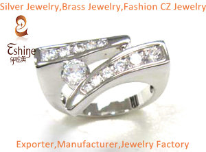 Engagement Brass Cz Jewelry Ring With Clear Stone And Full Rhodium Plating