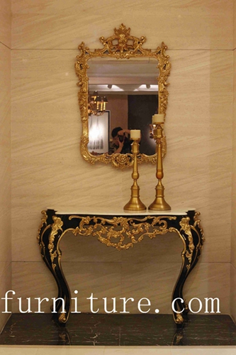 Entrance Table Decorations Console Wood With Mirror Antique Wall
