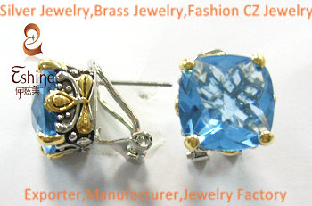 Exquisite Sterling Silver Jewelry Designer Inspired Earrings With Blue Tanzanite Cz Stones