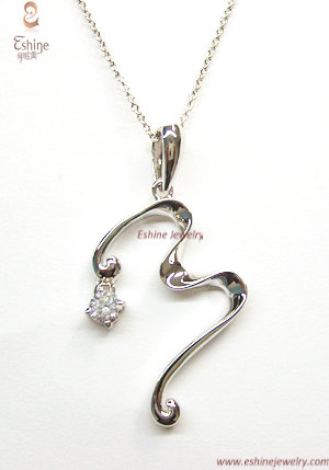Exquisite Sterling Silver Jewelry Pendant With Clear Aaa Cz Stones